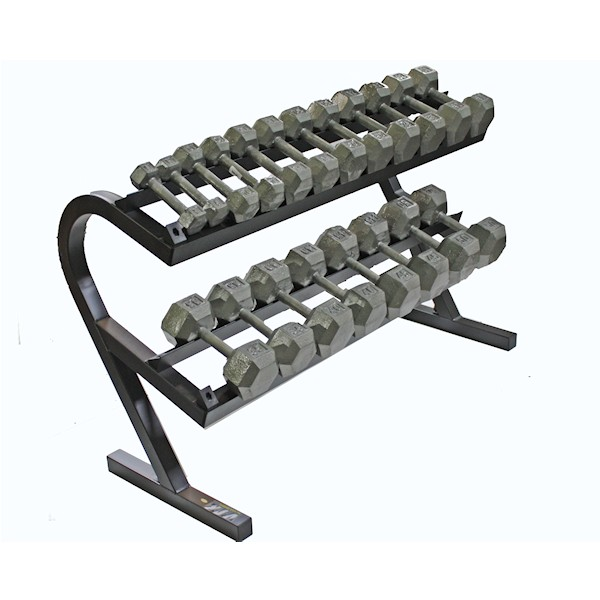 Solid Hex Dumbbell Package 5 50lb Pairs With Storage Rack