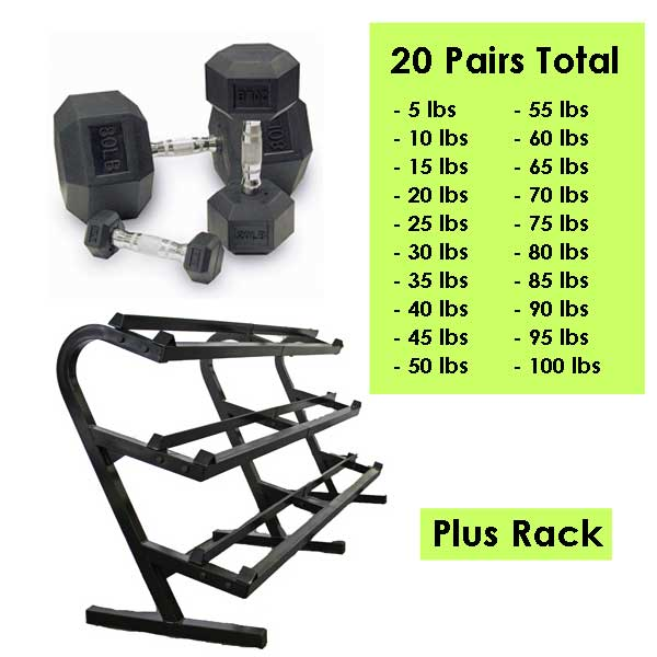 Urethane Dumbbell Package with Storage Rack